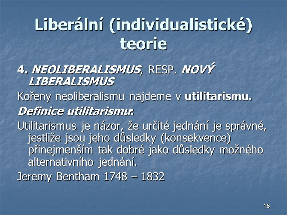 Liberální (individualistické) teorie