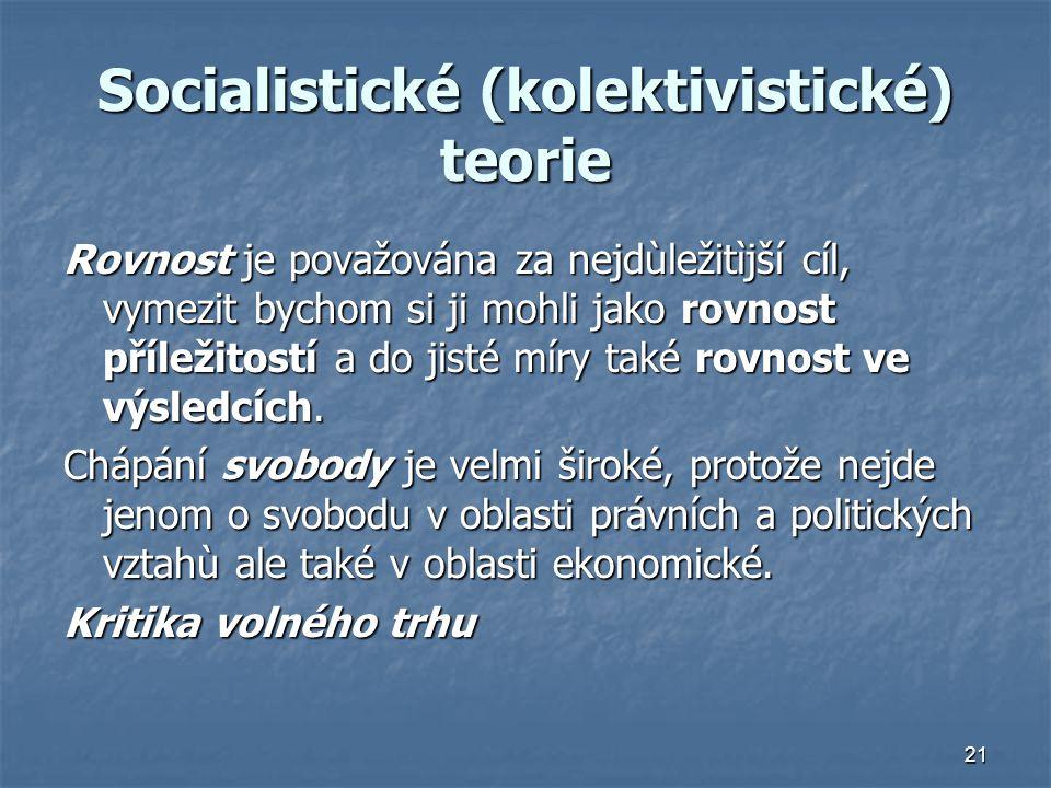 Socialistické (kolektivistické) teorie