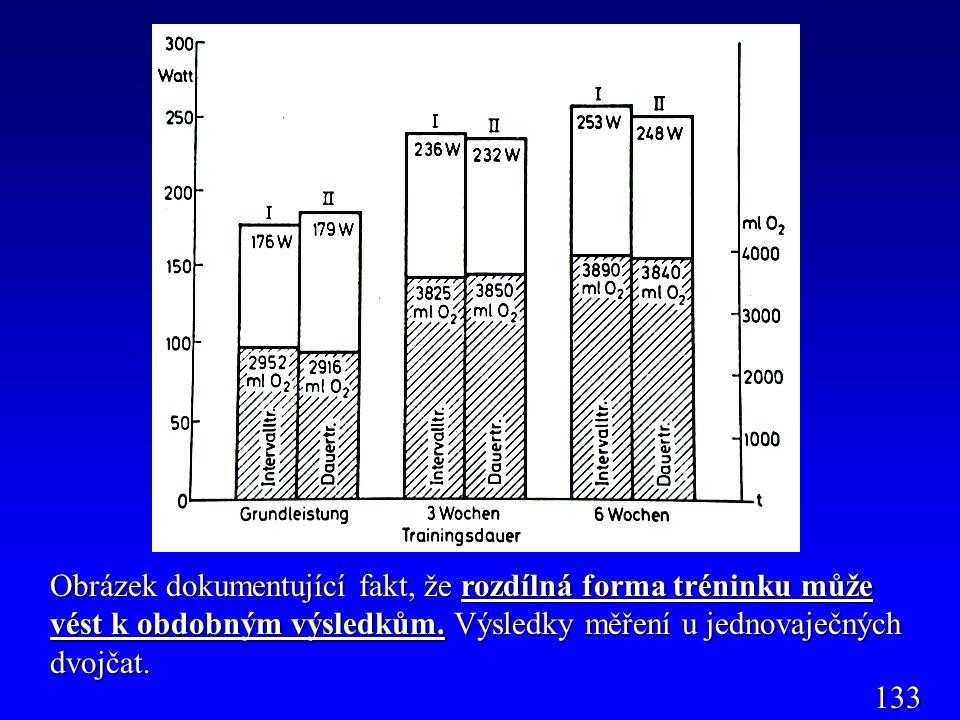 Obrázek dokumentující fakt, že rozdílná forma tréninku může vést k obdobným výsledkům. Výsledky měření u jednovaječných dvojčat.