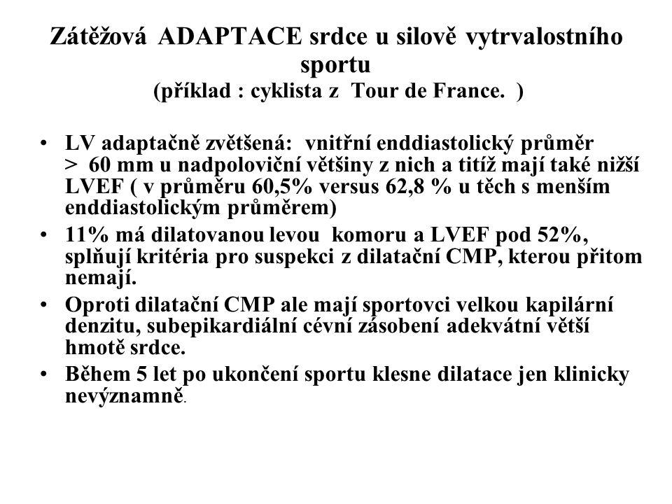 Zátěžová ADAPTACE srdce u silově vytrvalostního sportu (příklad : cyklista z Tour de France. )