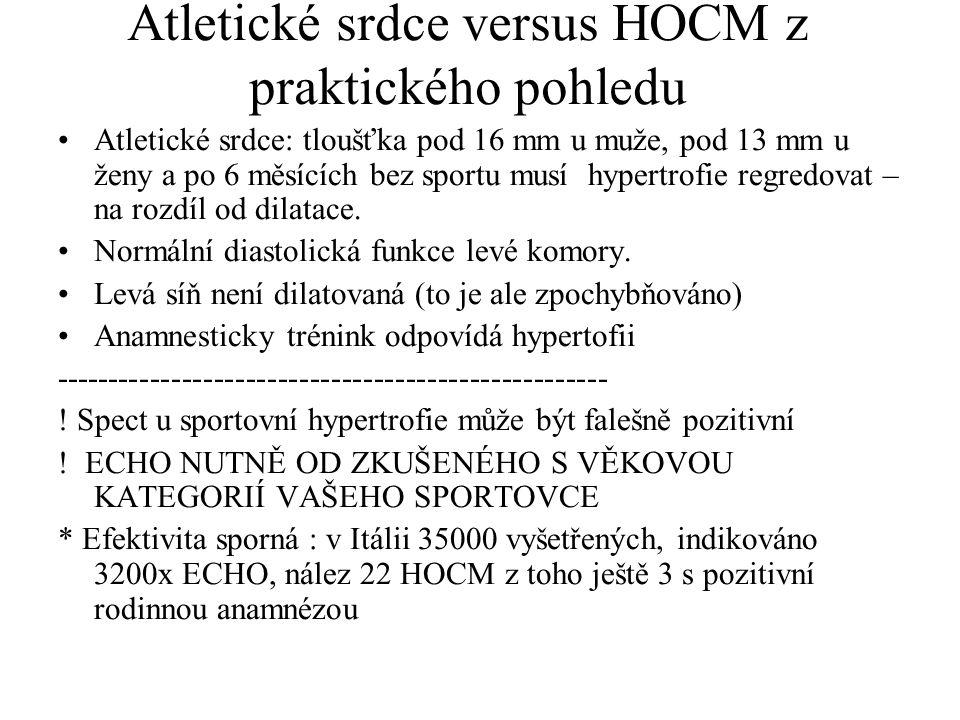 Atletické srdce versus HOCM z praktického pohledu