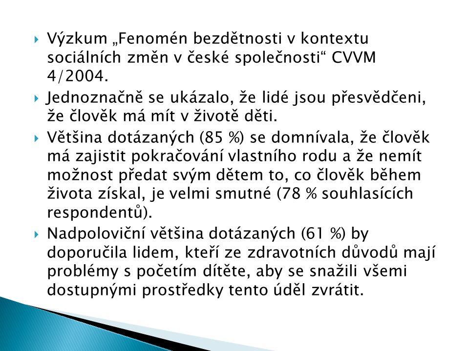"""Výzkum """"Fenomén bezdětnosti v kontextu sociálních změn v české společnosti CVVM 4/2004."""