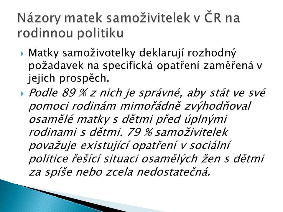 Názory matek samoživitelek v ČR na rodinnou politiku