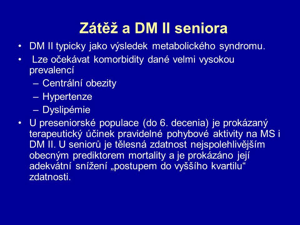 Zátěž a DM II seniora DM II typicky jako výsledek metabolického syndromu. Lze očekávat komorbidity dané velmi vysokou prevalencí.