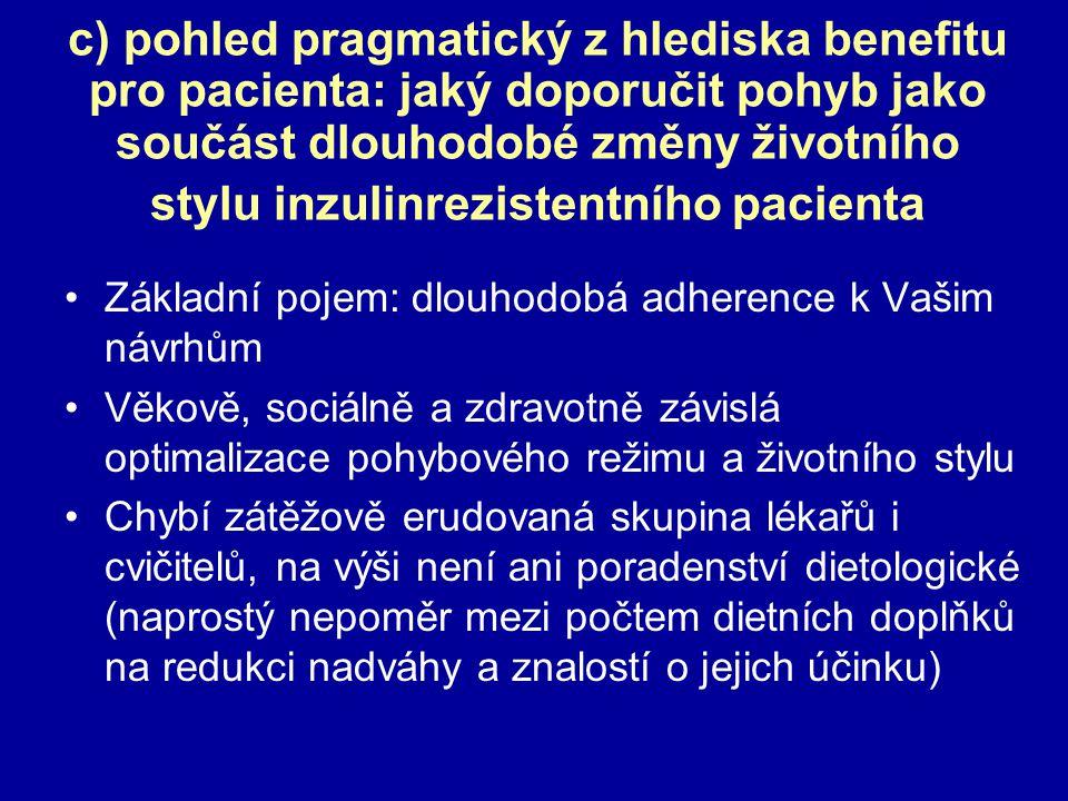 c) pohled pragmatický z hlediska benefitu pro pacienta: jaký doporučit pohyb jako součást dlouhodobé změny životního stylu inzulinrezistentního pacienta