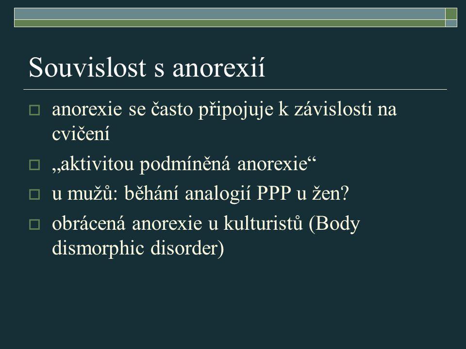 """Souvislost s anorexií anorexie se často připojuje k závislosti na cvičení. """"aktivitou podmíněná anorexie"""
