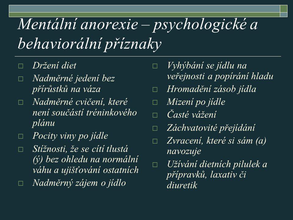 Mentální anorexie – psychologické a behaviorální příznaky
