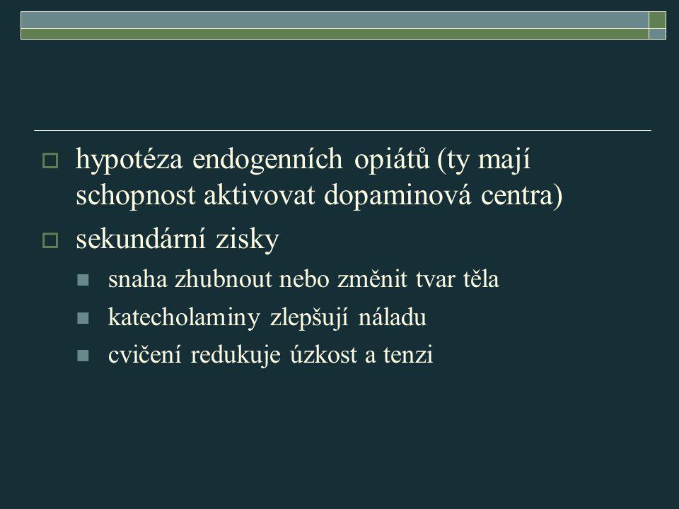 hypotéza endogenních opiátů (ty mají schopnost aktivovat dopaminová centra)