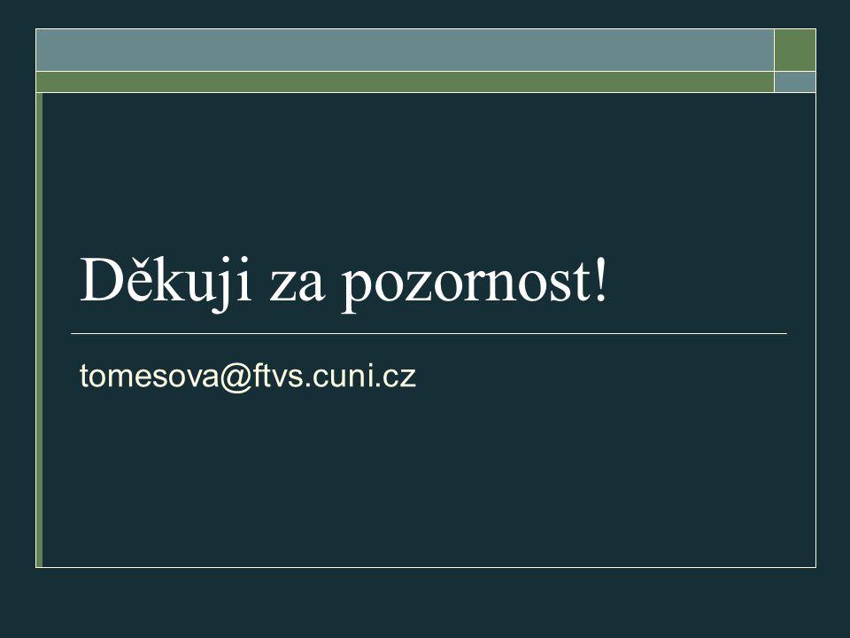 Děkuji za pozornost! tomesova@ftvs.cuni.cz