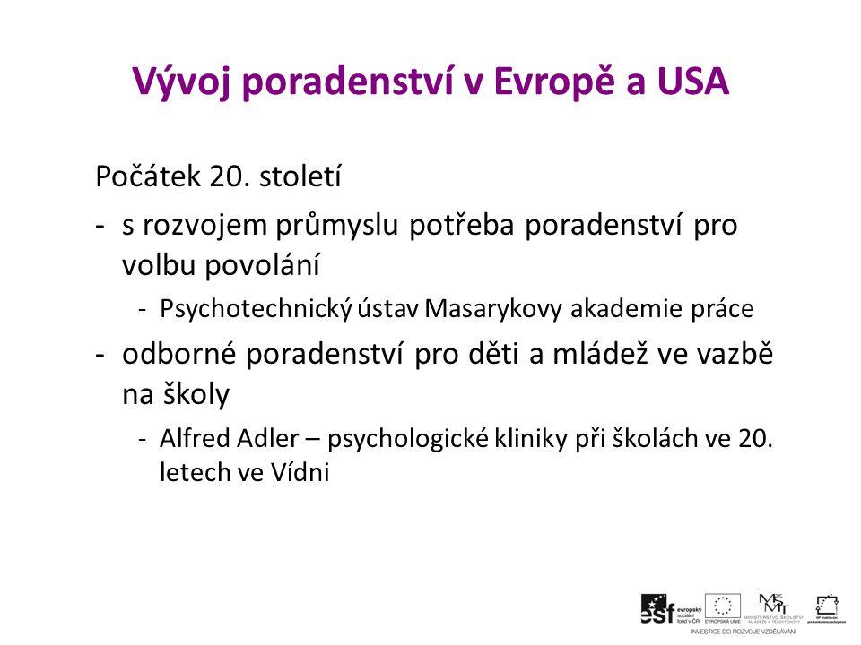 Vývoj poradenství v Evropě a USA