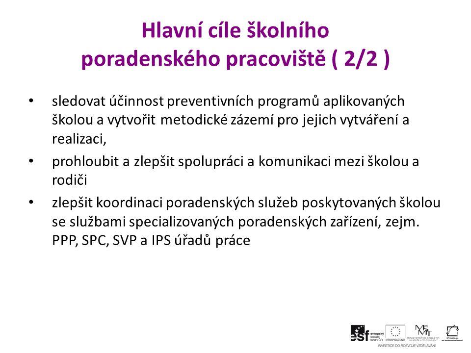 Hlavní cíle školního poradenského pracoviště ( 2/2 )