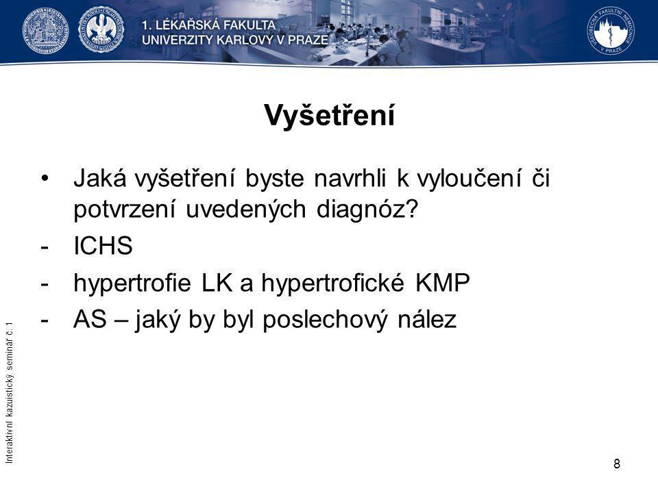 Vyšetření Jaká vyšetření byste navrhli k vyloučení či potvrzení uvedených diagnóz ICHS. hypertrofie LK a hypertrofické KMP.