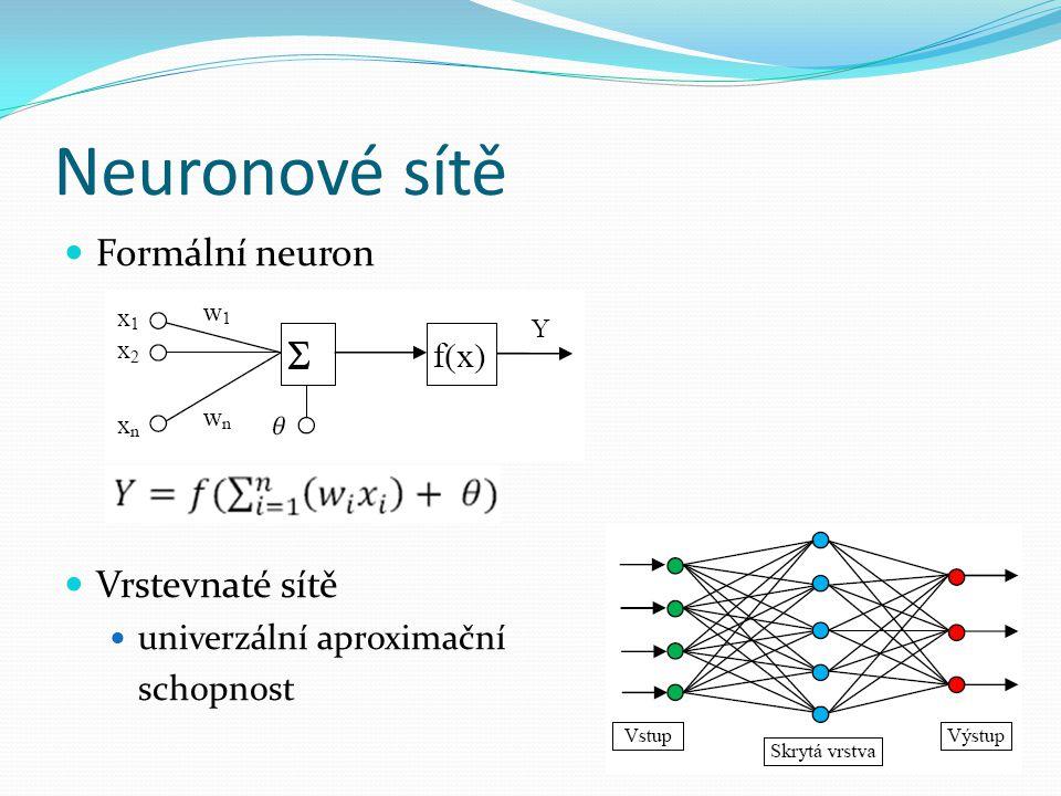 Neuronové sítě Formální neuron Vrstevnaté sítě univerzální aproximační