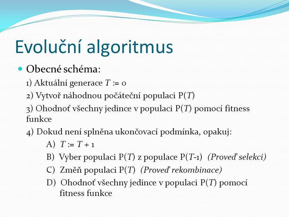 Evoluční algoritmus Obecné schéma: 1) Aktuální generace T := 0