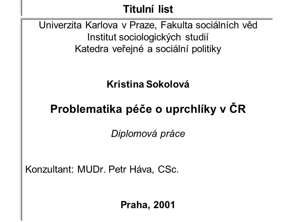 Problematika péče o uprchlíky v ČR