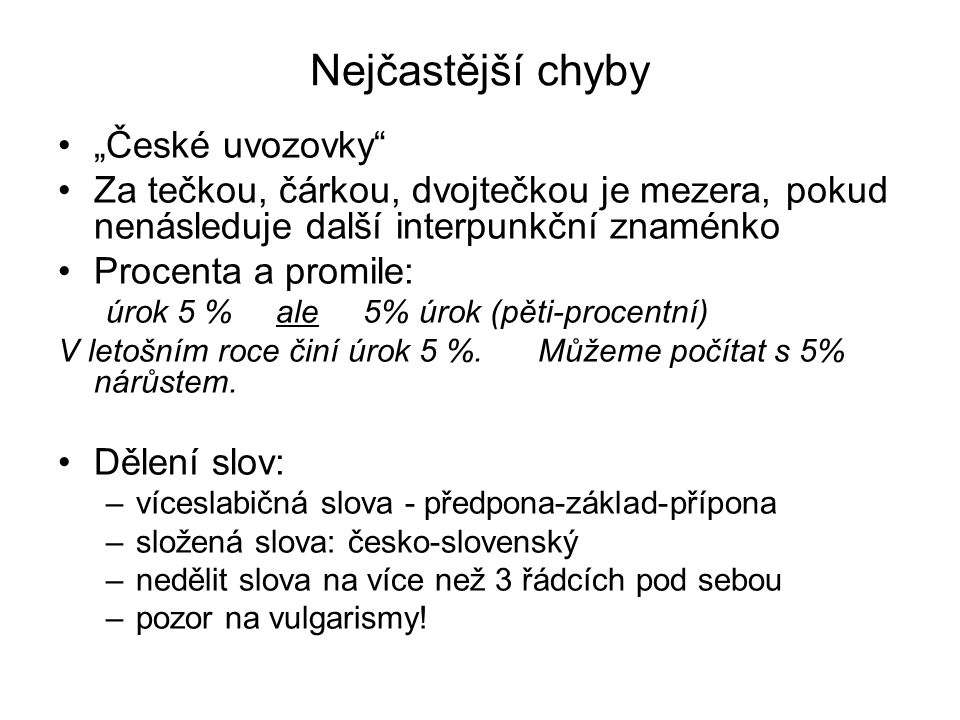 """Nejčastější chyby """"České uvozovky"""