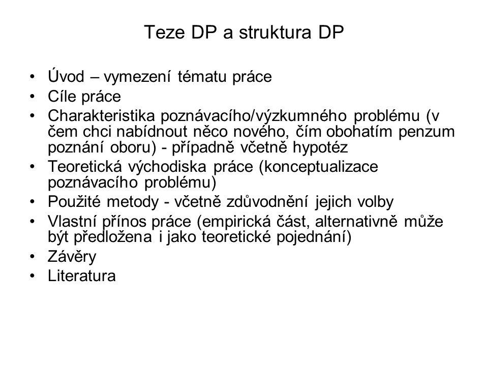 Teze DP a struktura DP Úvod – vymezení tématu práce Cíle práce