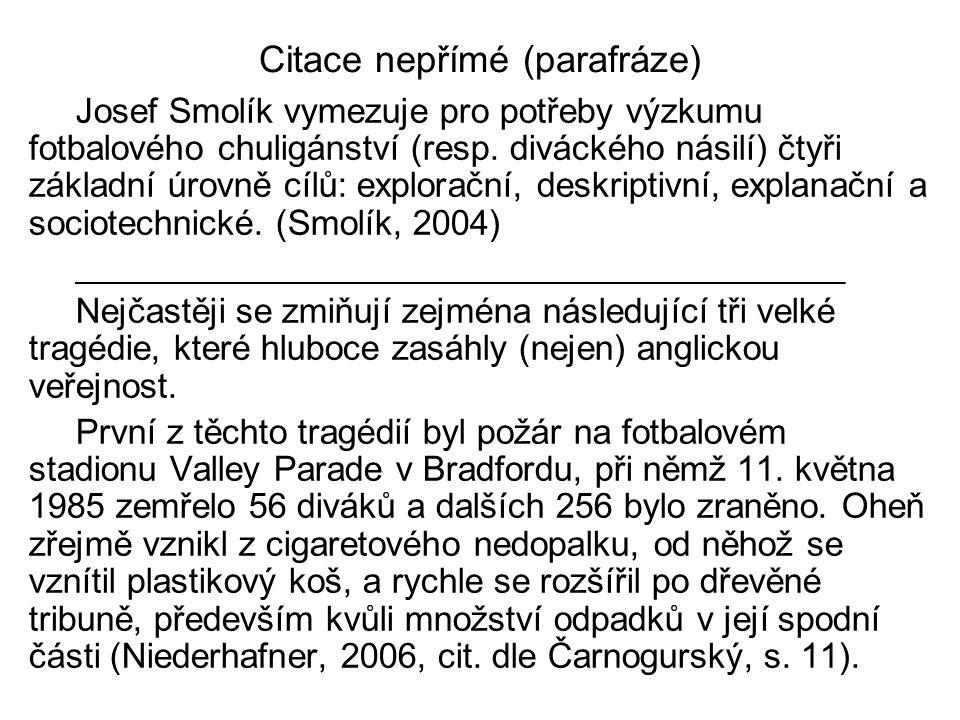 Citace nepřímé (parafráze)