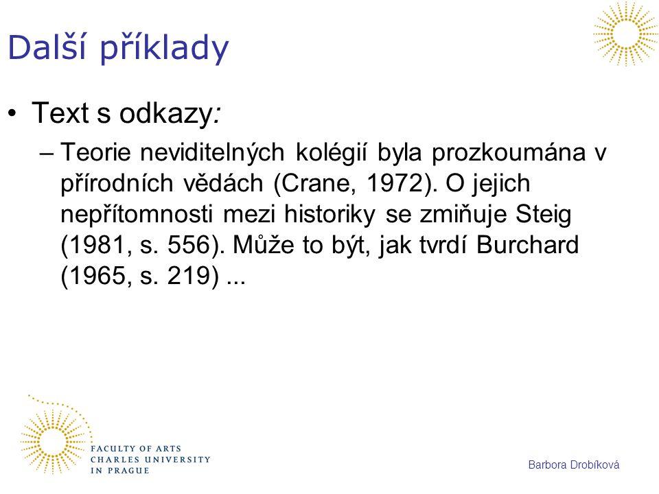 Další příklady Text s odkazy: