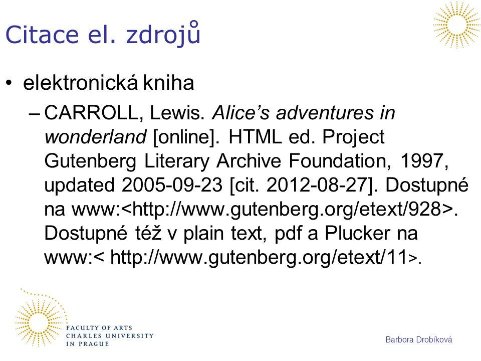 Citace el. zdrojů elektronická kniha