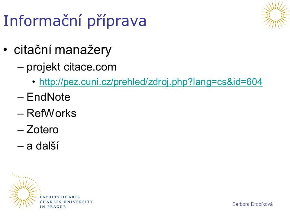 Informační příprava citační manažery projekt citace.com EndNote