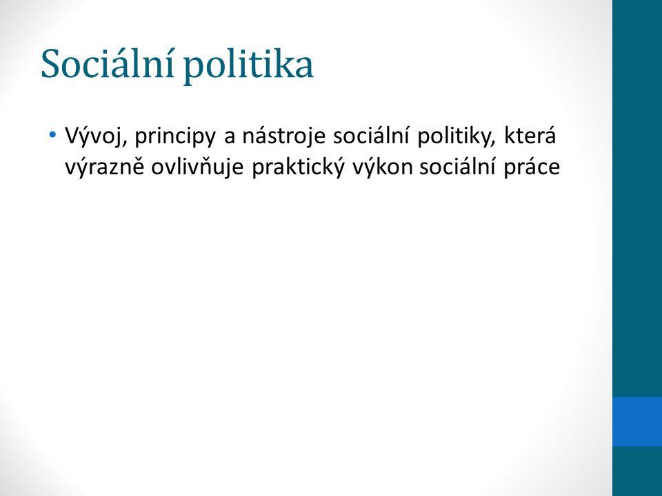 Sociální politika Vývoj, principy a nástroje sociální politiky, která výrazně ovlivňuje praktický výkon sociální práce.