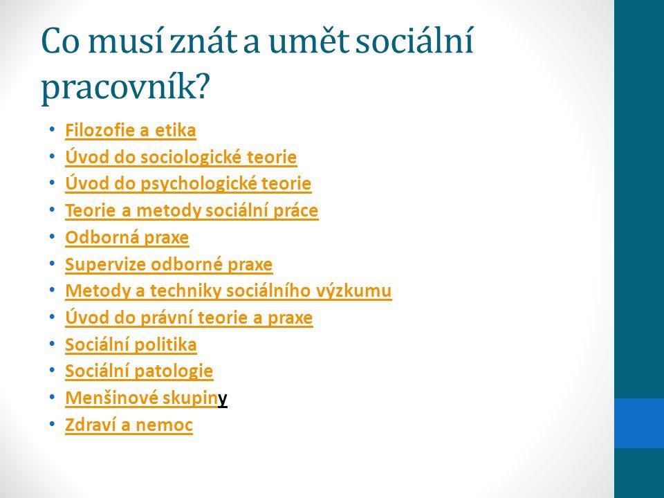 Co musí znát a umět sociální pracovník