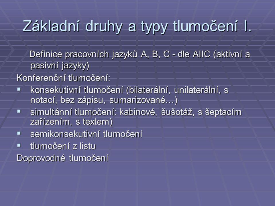 Základní druhy a typy tlumočení I.