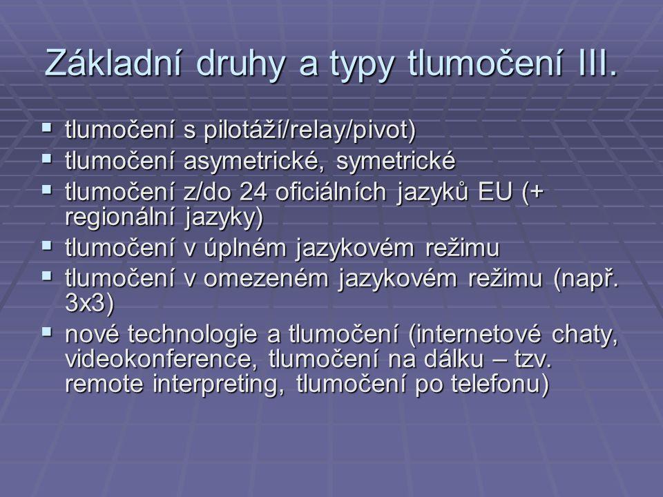 Základní druhy a typy tlumočení III.