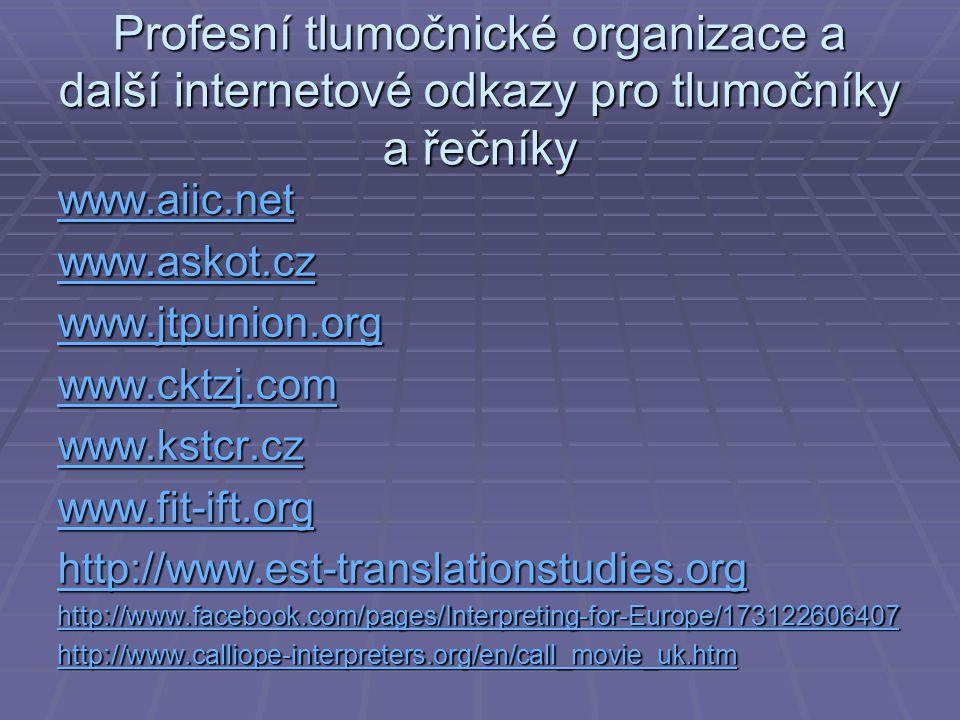 Profesní tlumočnické organizace a další internetové odkazy pro tlumočníky a řečníky