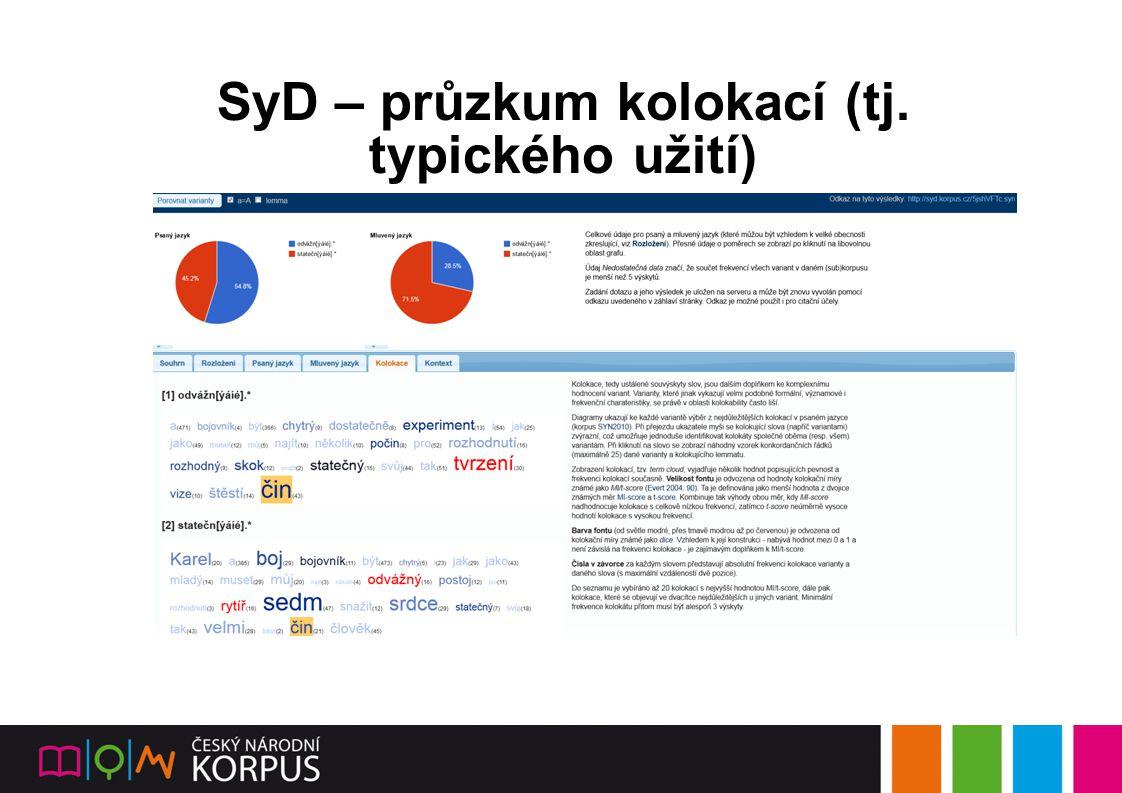 SyD – průzkum kolokací (tj. typického užití)