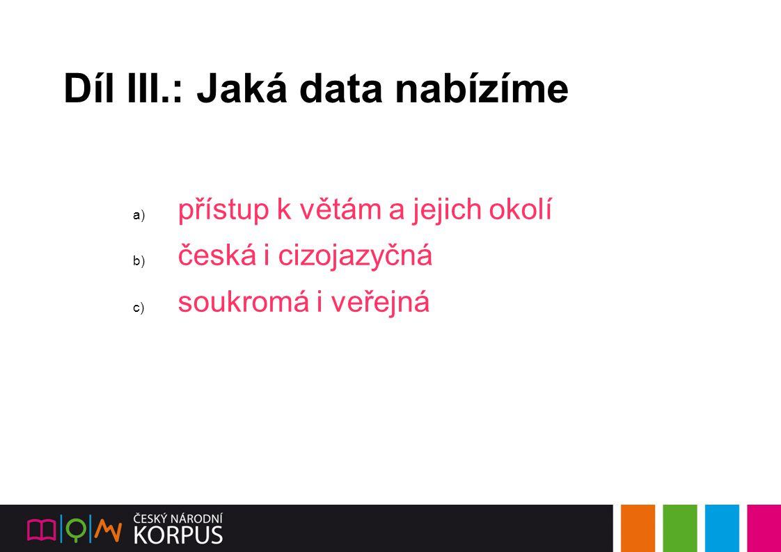 Díl III.: Jaká data nabízíme