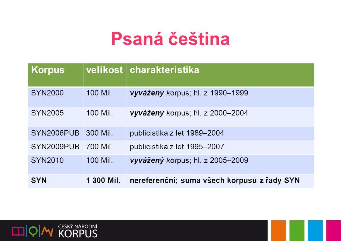 Psaná čeština Korpus velikost charakteristika SYN2000 100 Mil.