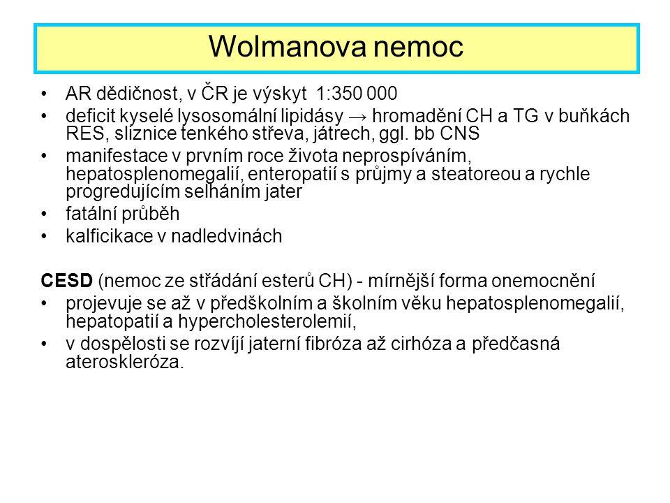 Wolmanova nemoc AR dědičnost, v ČR je výskyt 1:350 000