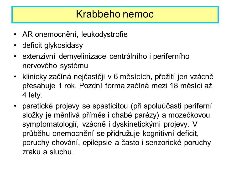 Krabbeho nemoc AR onemocnění, leukodystrofie deficit glykosidasy
