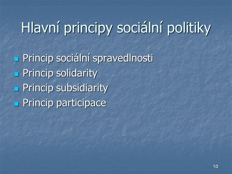Hlavní principy sociální politiky