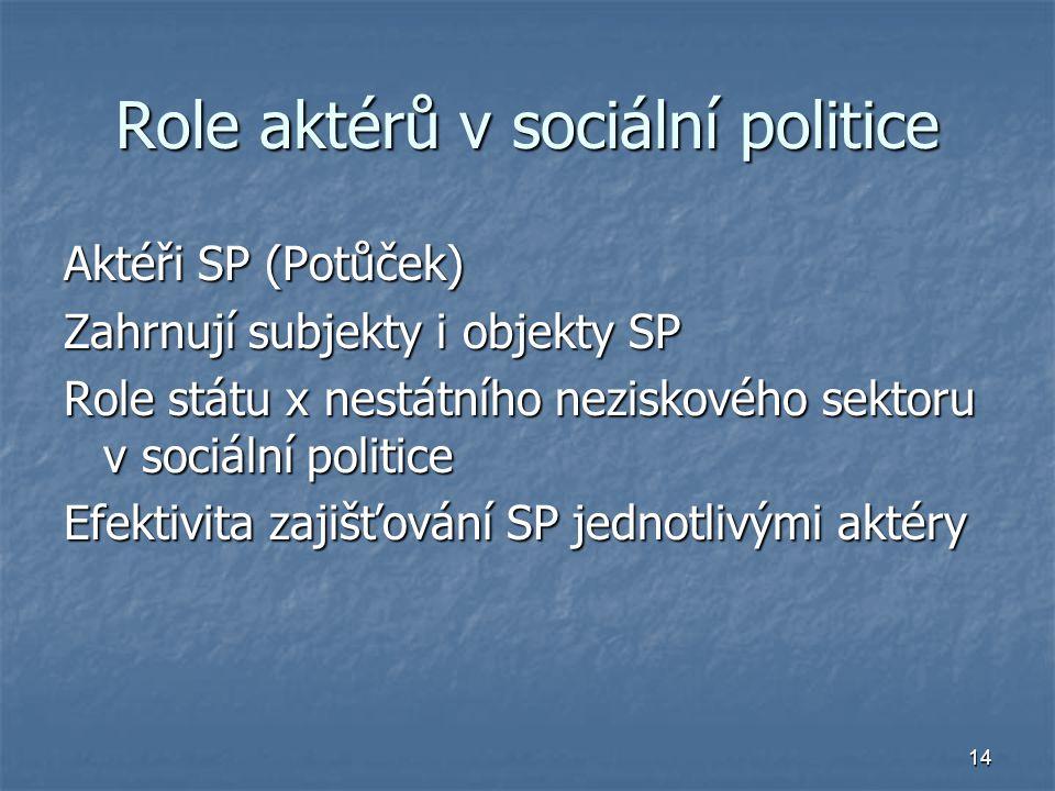 Role aktérů v sociální politice