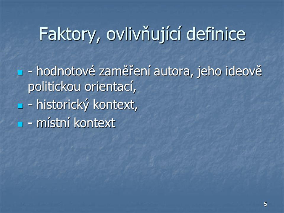 Faktory, ovlivňující definice