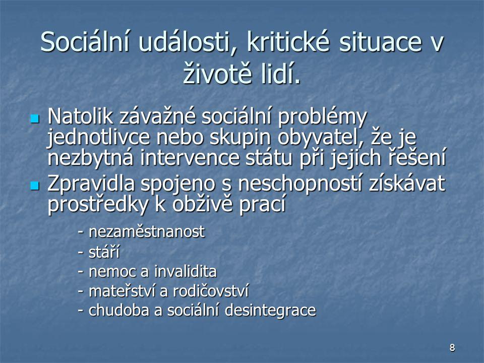 Sociální události, kritické situace v životě lidí.