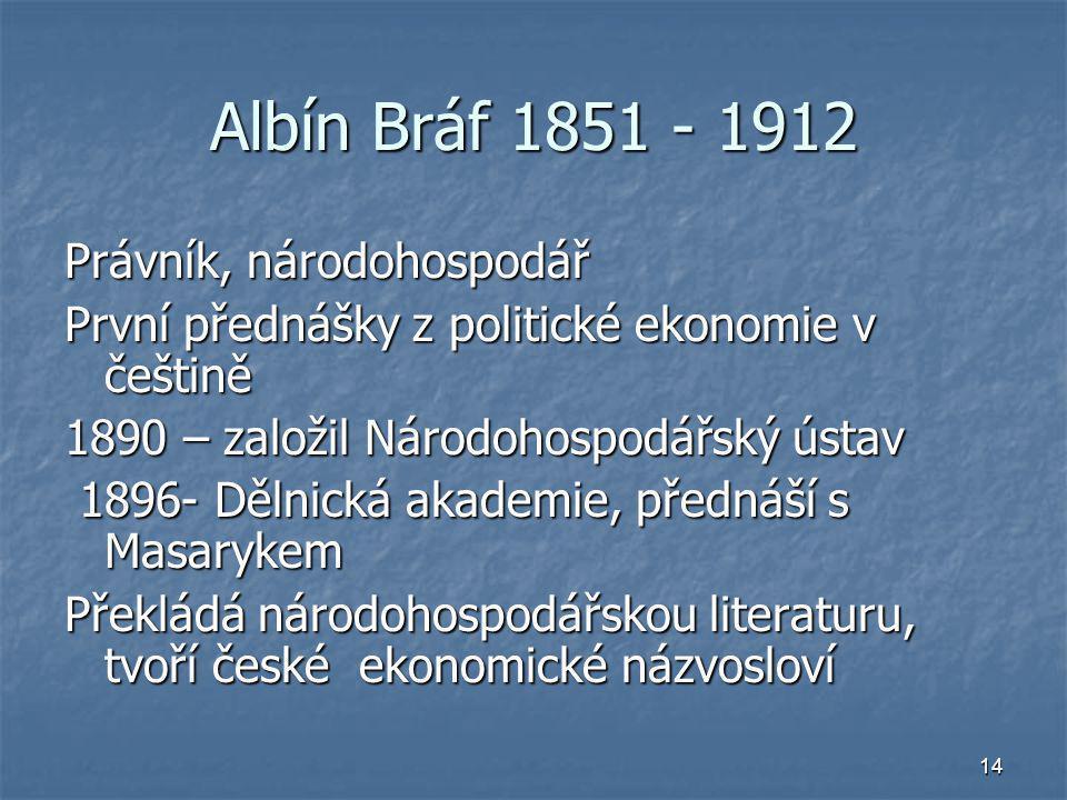 Albín Bráf 1851 - 1912 Právník, národohospodář