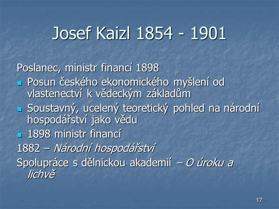 Josef Kaizl 1854 - 1901 Poslanec, ministr financí 1898