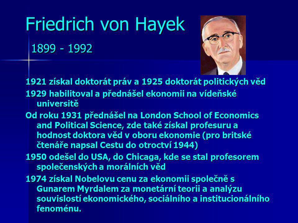 Friedrich von Hayek 1899 - 1992 1921 získal doktorát práv a 1925 doktorát politických věd.