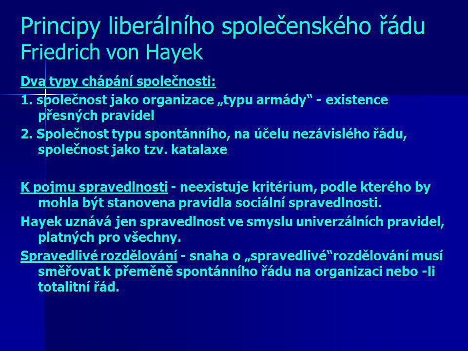 Principy liberálního společenského řádu Friedrich von Hayek