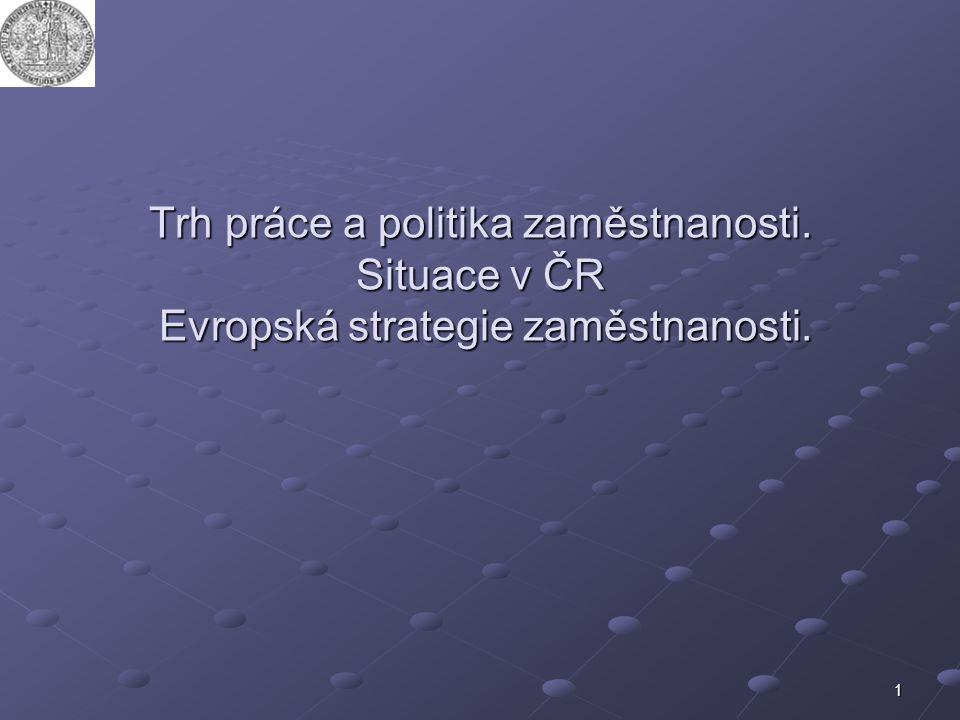 VSP, UK Trh práce a politika zaměstnanosti. Situace v ČR Evropská strategie zaměstnanosti.