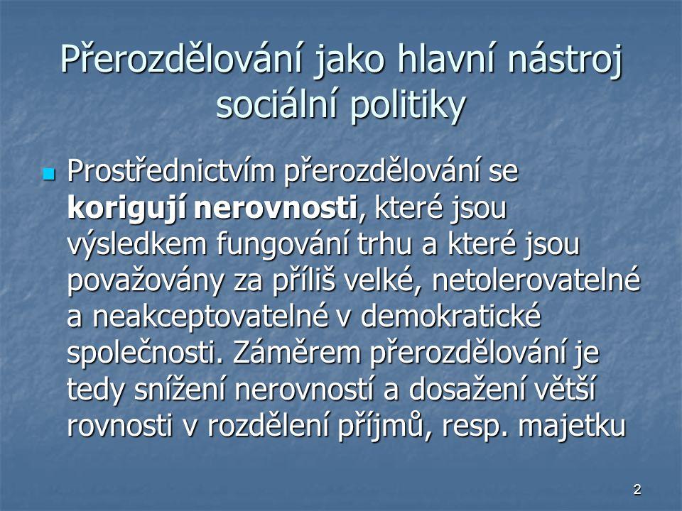 Přerozdělování jako hlavní nástroj sociální politiky