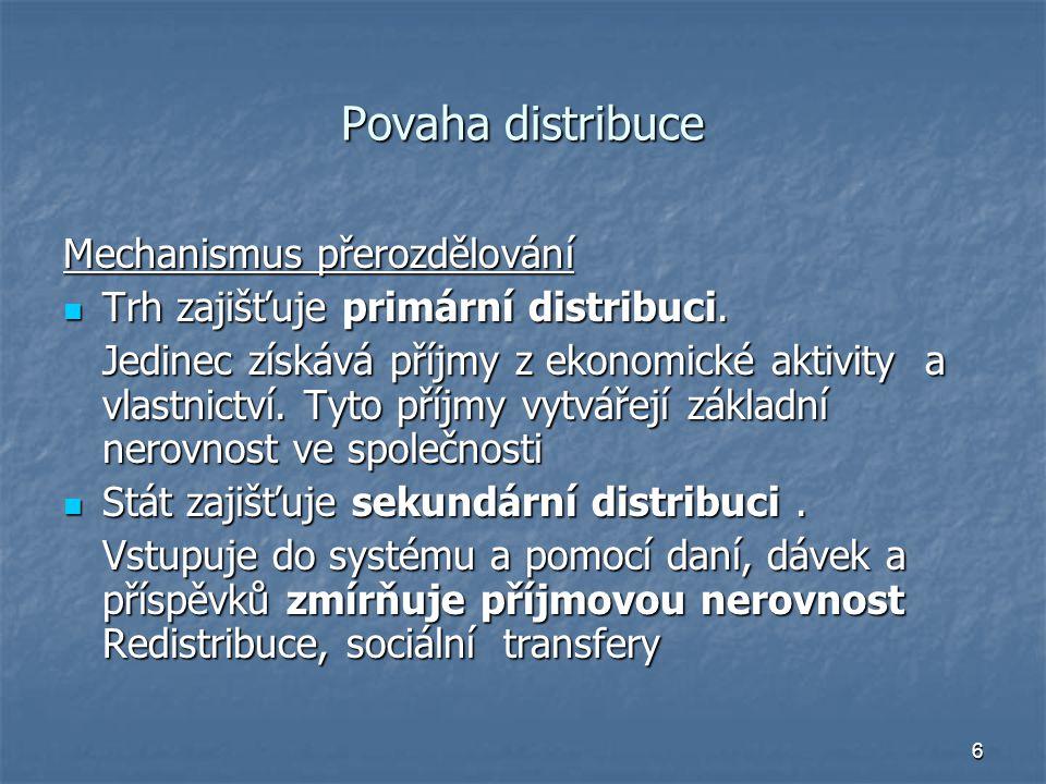 Povaha distribuce Mechanismus přerozdělování
