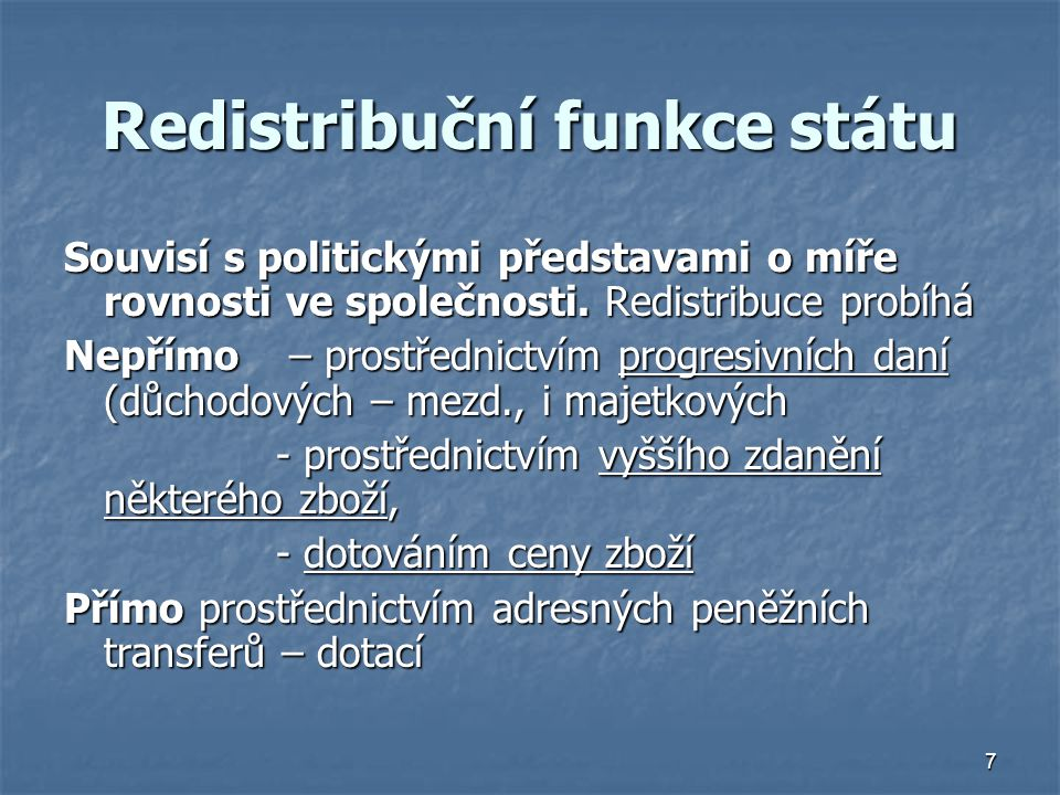 Redistribuční funkce státu