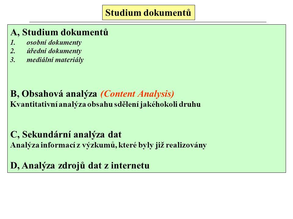 B, Obsahová analýza (Content Analysis)