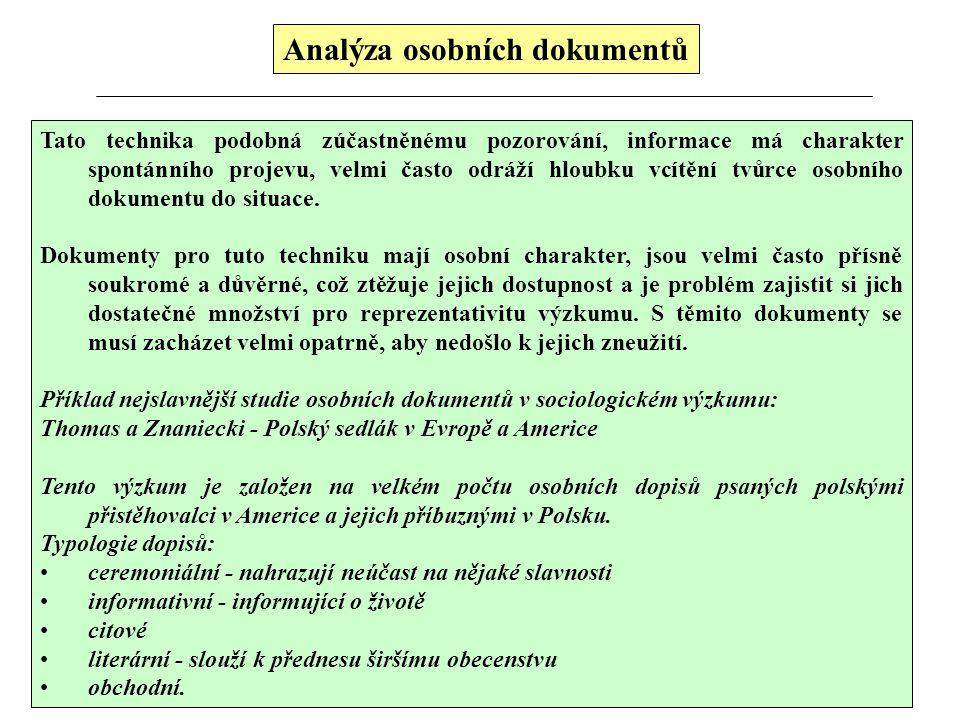 Analýza osobních dokumentů