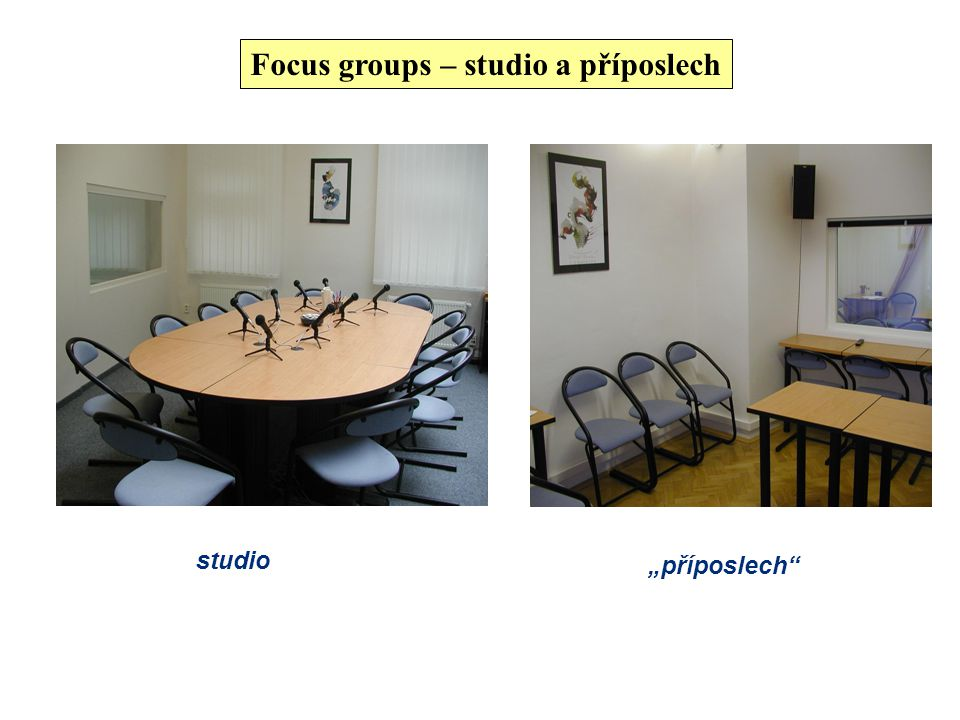 Focus groups – studio a příposlech